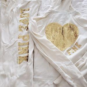 Victoria's secret cream and gold bling sweatsuit